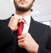 Portrait of a businessman adjusting his tie