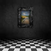 Empty, dark, psychedelic room with black and white checker on the floor and a colorful painting