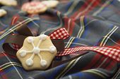 Christmas Cookies On Red And Bule Tartan