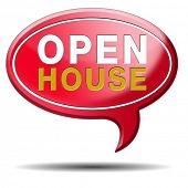 Open house selling or buying real estate property visit model house before you buy or rent, red ball