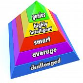 A pyramid of steps reading Genius, Highly Intelligent, Smart, Average and Challenged to represent in