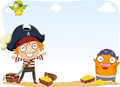 stock photo of plunder  - Background Illustration of Pirate and a Monster Surrounded by Gold Coins and Treasure Chests - JPG