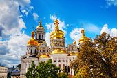 stock photo of kiev  - Kiev Pechersk Lavra monastery in Kiev Ukraine in the morning - JPG