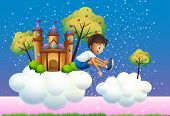 Illustration of a boy jumping near the castle