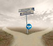 pic of indications  - Crossroad with signal of problem and solution way - JPG