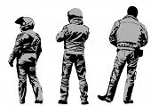 Vector drawing silhouettes of motorcyclists protective gear. Property release is attached to the fil