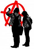 stock photo of anarchists  - Vector drawing of anarchists with large sign - JPG
