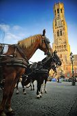 Horse-drawn Carriages At Grote Markt In Bruges