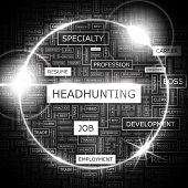 HEADHUNTING. Background concept wordcloud illustration. Print concept word cloud. Graphic collage. V