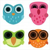 Four Cute Little Cartoony Owls