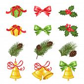 Christmas collection of symbols and decorations for your design, vector illustration.