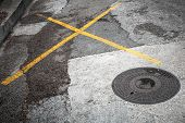 stock photo of cross-hatch  - Round hatch on asphalt road with yellow marking lines - JPG