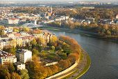 KRAKOW, POLAND - OCT 20: Aerial view of the Vistula River in the historic city center, Oct 20, 2013