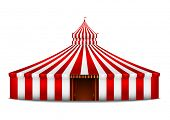 picture of funfair  - detailed illustration of a red and white circus tent - JPG