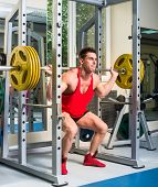 weightlifter squats with a barbell