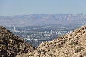 LAS VEGAS, NEVADA - Oct 15:  View of the Las Vegas strip.  Shot from Frenchman Mountain.  Vegas has 149,820 hotel rooms with a average daily rate of $110 on October 15, 2013 in Las Vegas, Nevada.