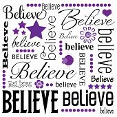 Believe Word Art White Background