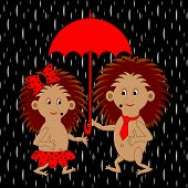 A Couple Of Funny Cartoon Hedgehogs Under Red Umbrella In The Rain