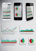 Set of infographic elements and smart-phones. with business applications on screens. Vector illustra