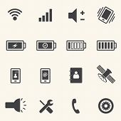 Icons set for mobile phone on texture background. Vector
