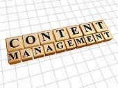 Content Management In Golden Cubes - Internet Concept
