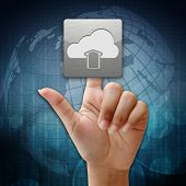 In Press Cloud Upload  Icon On Global Background
