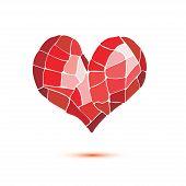 stock photo of broken heart flower  - heart stylized mosaic icon - JPG