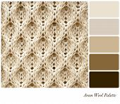 A background of knitted Aran wool, in a colour palette with complimentary colour swatches