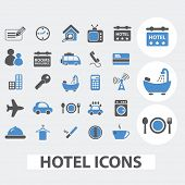 hotel, motel icons set, vector