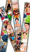 Filmstrip style montage of interracial female women working out at a gym, active exercising and enjoying a healthy lifestyle, and healthy eating fresh fruit and food