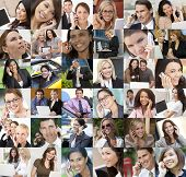 Montage of an interracial business men women businessmen businesswomen network of people using mobile cell phones laptop & tablet computer wireless communication technology