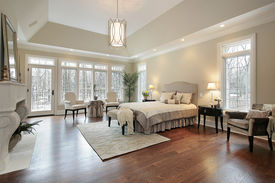 image of master bedroom  - Master bedroom in new construction home with fireplace - JPG