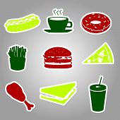 fast food stickers set eps10