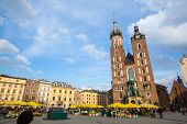 KRAKOW, POLAND - FEB 28, 2014: St. Mary's Church in historical center of Krakow. This year the city