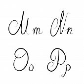 Hand Drawn Calligraphic Letters M,n,o,p Isolated