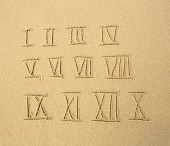 Roman numerals written on a sandy beach.