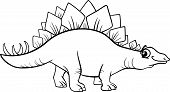 stock photo of prehistoric animal  - Black and White Cartoon Illustration of Stegosaurus Prehistoric Dinosaur for Coloring Book - JPG