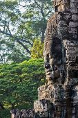 Ancient stone face of Bayon temple, Angkor, Cambodia