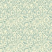 stock photo of plankton  - Handmade seamless pattern or background with abstract protozoa or abstract plankton - JPG