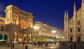 foto of emanuele  - Nightview of Vittorio Emanuele II gallery and the cathedral in Piazza Duomo Milan Italy - JPG