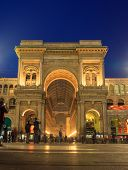 image of emanuele  - Nightview of Vittorio Emanuele II gallery in Milan Italy - JPG