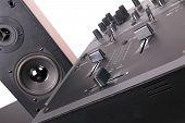 Dj Mixer And Loudspeaker In Dj Studio,