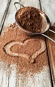 Heart Painted On Cocoa Powder