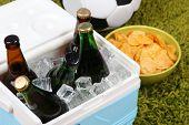 Ice chest full of drinks in bottles on color carpet background