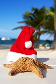 Santa Hat And Starfish On Beach