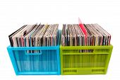 Vinyl Records In Plastic Boxes Isolated On White