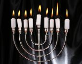 stock photo of menorah  - Hanukkah menorah with candles - JPG