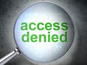 Security concept: Access Denied with optical glass