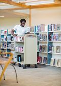 pic of librarian  - Young male librarian with trolley books in library - JPG