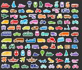 Transport icons set colored stickers